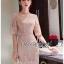 ชุดเดรสเกาหลี พร้อมส่งเดรสผ้าลูกไม้สีชมพูอ่อนสุดหรู thumbnail 6