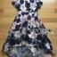 ชุดเดรสเกาหลี พร้อมส่งเดรสผ้าทูลเลปักดอกไม้โทนสีครีมน้ำเงิน thumbnail 16