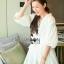 เสื้อผ้าเกาหลี พร้อมส่งเชิ้ตเดรสผ้าคอตตอนสีขาวตกแต่งลูกไม้สไตล์มินิมัลชิค thumbnail 4