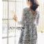 ชุดเดรสเกาหลี พร้อมส่งเดรสผ้าลูกไม้สีเทาอมฟ้าไลแล็คสไตล์แบรนด์ Self-Portrait thumbnail 8