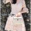 ชุดเดรสเกาหลี พร้อมส่งเดรสผ้าลูกไม้สีชมพูสไตล์เฟมินีนสุดหวาน thumbnail 6