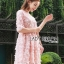 ชุดเดรสเกาหลี พร้อมส่งDress ค็อกเทลเดรสผ้าชีฟองสีชมพูปักดอกไม้ thumbnail 2