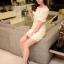 ชุดเดรสเกาหลี พร้อมส่ง dress เปิดไหล่ ผ้าchanel ด้านบนให้ผ้าออแกนดี้เนื้อดี thumbnail 6