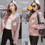 Cathy Sporty Feminine Embroidered Pink Bomber Jacket thumbnail 3