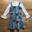 ชุดเดรสเกาหลี พร้อมส่งเดรสผ้าเดนิมสกรีนลายดาวทับเสื้อลูกไม้สีขาว thumbnail 8