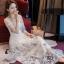 ชุดเดรสเกาหลี พร้อมส่งlong dress ผ้ามุ้งแขน 5 ส่วน thumbnail 1
