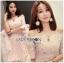 ชุดเดรสเกาหลีพร้อมส่ง มินิเดรสผ้าทูลเลสีชมพูอ่อนปักลายดอกไม้ทรงเปิดไหล่ thumbnail 6