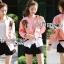 เสื้อผ้าเกาหลี พร้อมส่งบอมเบอร์แจ๊กเก็ตสีชมพูปักลายกุหลาบแดงสไตล์สปอร์ต thumbnail 6