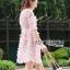 ชุดเดรสเกาหลี พร้อมส่งDress ค็อกเทลเดรสผ้าชีฟองสีชมพูปักดอกไม้ thumbnail 3