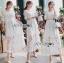 ชุดเดรสเกาหลี พร้อมส่งเดรสผ้าลูกไม้สีขาวปักลายผีเสื้อ thumbnail 6