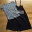 เสื้อผ้าเกาหลี พร้อมส่งเซ็ตเสื้อแขนสั้นลายทางพร้อมเอี๋ยมสายเดี่ยวติดกระดุมสีดำสไตล์ thumbnail 7