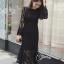 ชุดเดรสเกาหลี พร้อมส่ง long dress. งานลูกไม้แขนยาวเป็นทรงแขนกระดิ่งปล่อยๆเก๋ๆ thumbnail 3