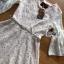 ชุดเดรสเกาหลี พร้อมส่งเดรสผ้าลูกไม้สีขาวงาช้างแขนบานพร้อมเข็มขัด thumbnail 9
