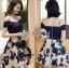 ชุดเดรสเกาหลีพร้อมส่ง เดรสผ้าคอตตอนเปิดไหล่และผ้าทูลเลปักลายดอกไม้ thumbnail 4