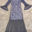 ชุดเดรสเกาหลี พร้อมส่งLong dress. ลูกไม้สีฟ้า สลับตาข่าย thumbnail 10