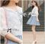 เสื้อผ้าเกาหลี พร้อมส่งเสื้อคลุมผ้าคอตตอนปักลายดอกไม้สไตล์เบสิก thumbnail 5