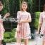 ชุดเดรสเกาหลี พร้อมส่งDress ค็อกเทลเดรสผ้าชีฟองสีชมพูปักดอกไม้ thumbnail 5