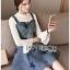 ชุดเดรสเกาหลี พร้อมส่งเดรสผ้าเดนิมสกรีนลายดาวทับเสื้อลูกไม้สีขาว thumbnail 1