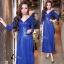 ชุดเดรสเกาหลี พร้อมส่งlong dress คอวี แขนยาวปักเลื่อมทั้งตัว thumbnail 4