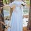 ชุดเดรสเกาหลี พร้อมส่งlong dress สีขาว ผ้า cotton ทรงยางยืดปาดไหล่ thumbnail 1