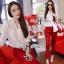 เสื้อผ้าเกาหลี พร้อมส่ง เซ็ตเสื้อ-กางเกงขายาวทรงสกินนี่สีเเดง red rouge thumbnail 2