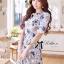 เสื้อผ้าเกาหลี พร้อมส่ง เดรสพิมพ์ลายดอกไม้สีฟ้า-น้ำตาลสุดหวาน thumbnail 1