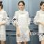ชุดเดรสเกาหลี พร้อมส่งเดรสผ้าลูกไม้สีชมพูอ่อนสุดหรู thumbnail 5