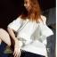 เสื้อผ้าแฟชั่นพร้อมส่ง set เสื้อ + กางเกงขาวdesign เก๋ thumbnail 3