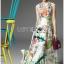 ชุดเดรสเกาหลี พร้อมส่งเดรสยาวผ้าซาตินพิมพ์และปักลายดอกไม้ thumbnail 7