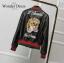 เสื้อผ้าเกาหลี พร้อมส่งเสื้อแจ๊ตหนังสีดำ ปักลายลักษณ์แบรนด์ Gucci thumbnail 9