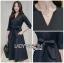 Katie Elegant Chic Minimal navy Blue Dress with Ribbon thumbnail 5