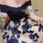 ชุดเดรสเกาหลีพร้อมส่ง เดรสผ้าคอตตอนเปิดไหล่และผ้าทูลเลปักลายดอกไม้ thumbnail 7