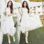 ชุดเดรสเกาหลี พร้อมส่งlong dress สีขาวยาว แขน 3 thumbnail 4