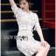 ชุดเดรสเกาหลี พร้อมส่งเดรสผ้าลูกไม้สีขาวสไตล์คลาสสิกสุดหรู thumbnail 2