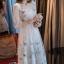 ชุดเดรสเกาหลี พร้อมส่งlong dress ผ้ามุ้งแขน 5 ส่วน thumbnail 4