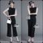 เสื้อผ้าเกาหลี พร้อมส่งเซตเสื้อ+กางเกง ดีไซน์ผ้าลายริ้วโทนสีขาวดำ thumbnail 4