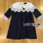 ชุดเดรสเกาหลี พร้อมส่งเดรสผ้าคอตตอนสีน้ำเงินเข้มตกแต่งผ้าลูกไม้สีขาว thumbnail 10