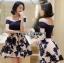 ชุดเดรสเกาหลีพร้อมส่ง เดรสผ้าคอตตอนเปิดไหล่และผ้าทูลเลปักลายดอกไม้ thumbnail 3