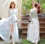 Vanessa Flower Embroidered White Tulle and Lace Dress thumbnail 3