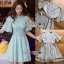 ชุดเดรสเกาหลี พร้อมส่งเดรสผ้าลูกไม้สีฟ้าเขียวพาสเทล พร้อมเข็มขัดมุก thumbnail 9