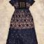 ชุดเดรสเกาหลี พร้อมส่งlong dress ฉลุสีกรม แขนสั้นซับในเย็บติดสีเนื้อช่วงอกยาวเหนือหัวเข่า thumbnail 10