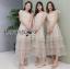 ชุดเดรสเกาหลี พร้อมส่งเดรสผ้าลูกไม้สีขาวปักลายดอกไม้สีหวาน thumbnail 2