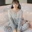 เสื้อผ้าเกาหลี พร้อมส่งเซ็ตชุดนอนผ้าคอตตอนลายตารางสีพาสเทล thumbnail 2