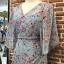 ชุดเดรสเกาหลีพร้อมส่ง เดรสลายดอก ผ้าเป็นผ้าชีฟอง ทรงเสื้อคลุม thumbnail 8
