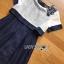 ชุดเดรสเกาหลีพร้อมส่ง เดรสผ้าซิลค์คอตตอนสีขาว-น้ำเงินปักตกแต่งดอกไม้ thumbnail 7