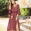Kay Casual Bohemian Printed Flared-Sleeve Dress with Feather Belt thumbnail 2