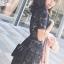 ชุดเดรสเกาหลี พร้อมส่งlong dress ฉลุสีกรม แขนสั้นซับในเย็บติดสีเนื้อช่วงอกยาวเหนือหัวเข่า thumbnail 9