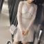ชุดเดรสเกาหลี พร้อมส่งCrystal White Luxury Self Portrait Stilysh Lace Dress thumbnail 3