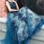 ชุดเดรสเกาหลี พร้อมส่งLong dress แขนกุดผ้ามุ้งสีกรม สองชั้น thumbnail 1