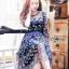 ชุดเดรสเกาหลี พร้อมส่งเดรสผ้าทูลเลสีน้ำเงินปักลายดอกกุหลาบสีทอง thumbnail 1